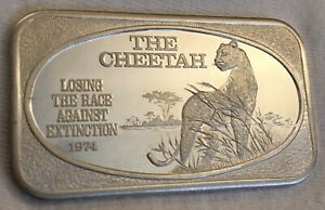 THE CHEETAH 1 Troy OZ Silver Art Bar 1974 Losing the Race Against Extinction 999