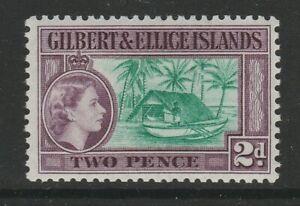 Gilbert & Ellice 1956 2d Bluish green & purple SG 66a Mint.