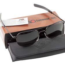 AO American Optical Military Aviator Black Frames 57 mm Sunglasses Gray Lens