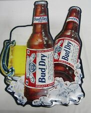 "1990 Budweiser Bud Dry Beer Advertising Metal Tin Wall Hanging Sign 18.5"" x 25"""