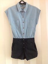 TOPSHOP moto denim shirt playsuit romper size-8 New Without Tags