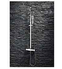 Square Twin Head Thermostatic Shower Valve Handset Riser Bar Chrome Set FREEPOST