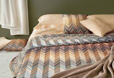 Missoni Janet Queen Duvet Cover Chevron Neutral Beige Blue Embroidery $1148