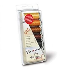 GUTERMANN RAYON 40 COFFEE MACHINE THREAD EMBROIDERY SEWING 7 REEL SET BROWNS