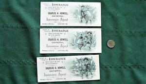 """Set of 3 ink blotters """"CHARLES NOWELL Insurance Agent SANFORD, ME."""" circa 1890's"""