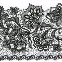 4x Single Table Party Paper Napkins for Decoupage Decopatch Gloria Lace Black