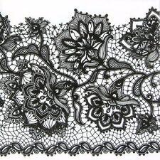4x Gloria Lace Black Party Paper Napkins for Decoupage