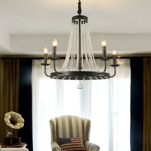 Industrial 5 Candle Lights Black Metal Round Crystal Ceiling Pendant Chandeliers