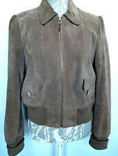 Ladies Suede Jacket UK 14 Brown Bomber Princess Sleeve Faded Vintage Look