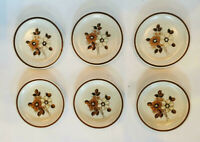 "VINTAGE Woodhaven Collection Stoneware 6.5"" Bread Plates PLEASANT GROVE 6-Piece"