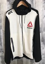 Reebok UFC Hoodie Full Zip Walkout Black/Grey/Chalk EUC 100% Authentic Size Larg