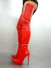 CQ COUTURE CUSTOM OVERKNEE BOOT STIEFEL STIVALI GOLD CHAIN LEATHER RED ROSSO 39