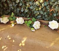 Ivory Cream Rose Silk Flower Garland on Rattan Twig Vine 1.8M Wedding Home Event