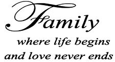 Family Quote Wall Art vinyl Decal / Sticker