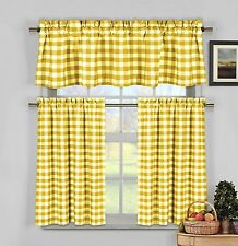 lovemyfabric Gingham Checkered Plaid Design 3-Piece Kitchen Valance-Yellow