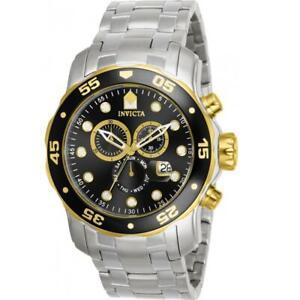 Invicta 80039 Men's Pro Diver Scuba Two-Tone Black Dial Chronograph Watch