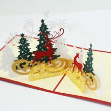 3-D Pop-Up Christmas Card with Christmas Tree and Reindeer