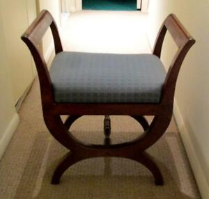 1800's Regency Upholstered Mahogany Out-Carved Open Sides Bench