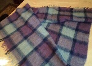 "Throw Blanket Mohair and Wool Waratah Australia Blue and Mauve 51"" x 63"""