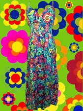 180✪ 60er 70er Jahre Panton Ära Blumenkinder Maxi dress Kleid Hippie blau Gr. 40