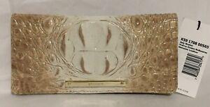 Brahmin Melbourne ADY Slim Bifold Lthr Wallet Clutch PRALINE OMBRE Tan White NWT