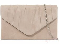 Fi9 Plain Suede Pleated Wedding Ladies Party Prom Evening Clutch Hand Bag Purse