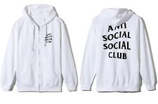 DS Anti Social Social Club ASSC Black logo Masochism Zip UP white Hoodie in hand