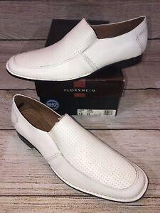 New Florsheim Kane White Leather Loafers Dress Shoes Mens Sz 12 D NIB