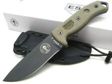 ESSE Micarta Model 5 Straight FULL TANG Fixed Carbon Steel Knife + Sheath! 5P-TG