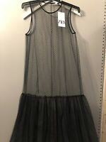 Zara  ladies women's Sheer Polka Dot Maxi size Small Bnwt Bloggers Sold Out