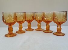 6 VIKING ORANGE PERSIMMON GLASS GOBLETS LOTUS LEAF STEM WARE VTG WINE? WATER?