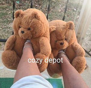ORIGINAL BROWN Teddy bear slippers  #TIK TOK #INSTAGRAM #OVERSIZED #COZY #PLUSH