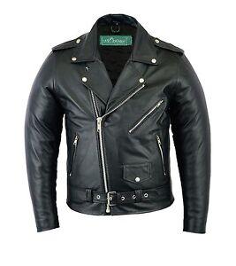 Uk Stock Men's Brando Vintage Motorcycle Classic Biker Black Real Leather Jacket
