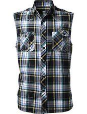 Mens Sleeveless Dress Shirts Button Down Slim Fit Casual Plaid Checker Flannel