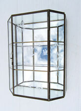 VINTAGE GLASS BRASS WALL MOUNT CURIO CABINET MIRRORED SHADOW BOX 3 SHELF