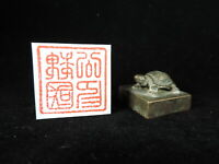 Vintage Copper Signet Set Japanese Office Kanji Wax Stamp Seal Tortoise Statue