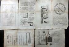 Camden's Britannia 1806 Lot of 6 Large Folio Antiquities Prints. Book Plates