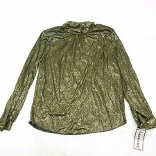 Vintage 70s 80s NOS GOLD Dotted LAME Top Blouse Party Shiny Clubbing SZ 16