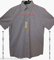 New Mens Marks & Spencer Blue White Cotton Linen Shirt Size Medium Small RRP £35