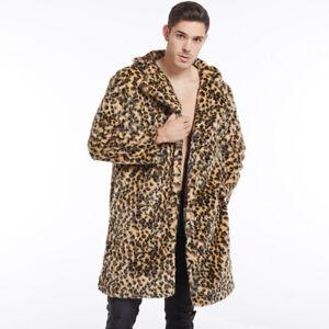 Man's Winter keep warm leopard print Faux Fur coat plus size loose fashion coats