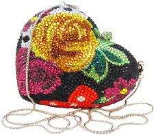 Anthony David Black & Red Multi-Colored Floral Rose Crystal Heart Evening Bag