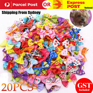 20PCS Pet Small Dog Hair Bows Rubber Bands Puppy Cat Grooming Accessory Set AU