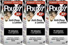 3x Pouxit XF Headlice Treatment Spray Lice, 100% Effective Works 15 Mins 3x100ml