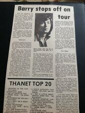 67-3 Ephemera 1974 Article Barry Blue Singer First Tour At Margate Dreamland
