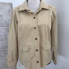 Chico's Khaki Jacket Blazer size 2 Embroidered Back Snap Button
