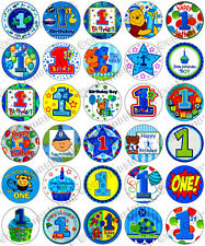 30 x Boys 1st Birthday Party Edible Rice Wafer Paper Cupcake Toppers