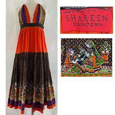 SHAREEN DOWNTOWN Women's XS Vibrant Ethnic Print Hand Made Halter Midi Dress EUC