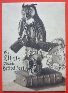 "Exlibris, Bookplate ""Ottonis Hirtreitheri"" Tod, Eule"