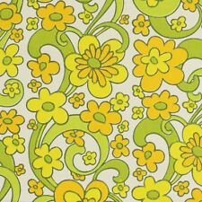 MID-CENTURY MODERN SUNSHINE Original Vintage Wild Yellow Flowers Wallpaper 1970s