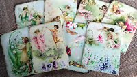 Set of 8 Floral Fairy Tags/Toppers/Embellishments